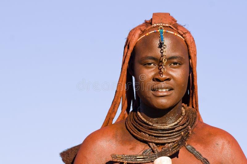 Inheems Himba-vrouwenportret royalty-vrije stock afbeeldingen