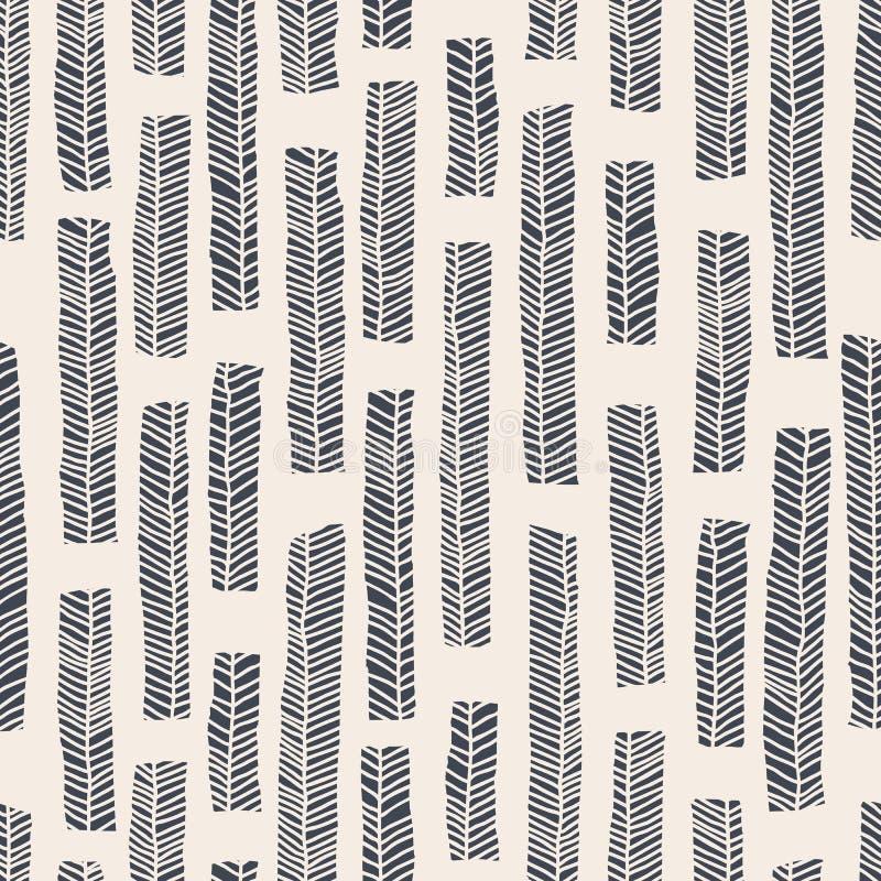Inheems vector naadloos patroon met inbegrip van enthnic bladeren als achtergrond of textuur vector illustratie