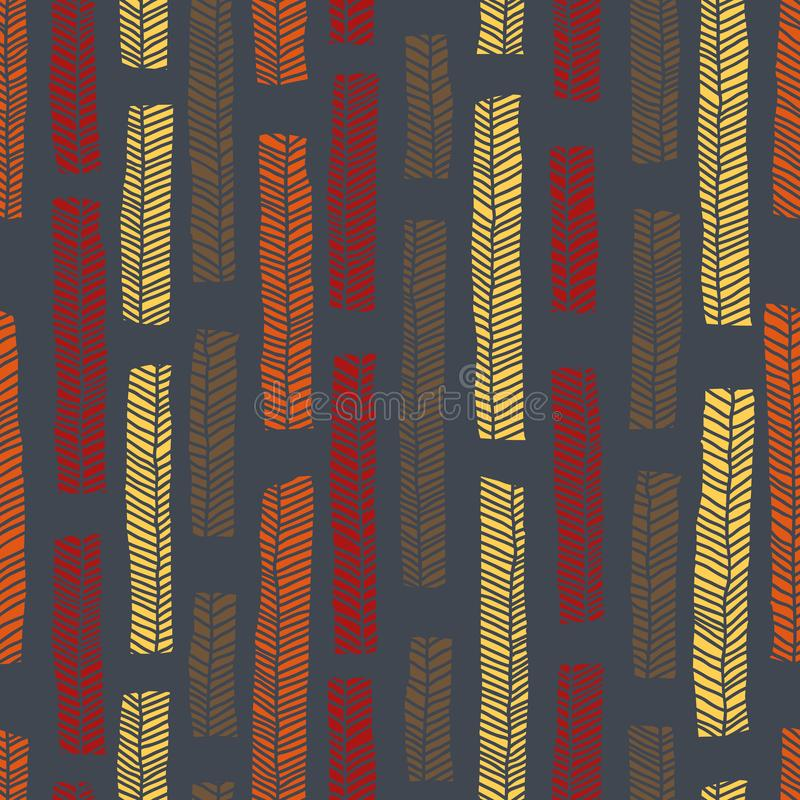 Inheems vector naadloos patroon met inbegrip van enthnic multicolored bladeren als achtergrond of textuur stock illustratie