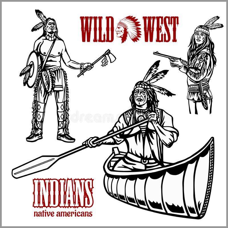 Inheemse Amerikaan die Indiër in kanoboot roeien vector illustratie