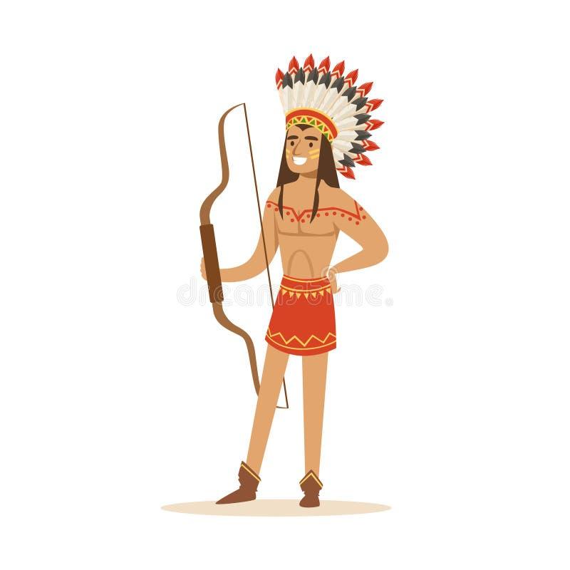 Inheemse Amerikaanse Indiër in traditionele lendendoek en hoofddeksel die zich met een boog vectorillustratie bevinden royalty-vrije illustratie