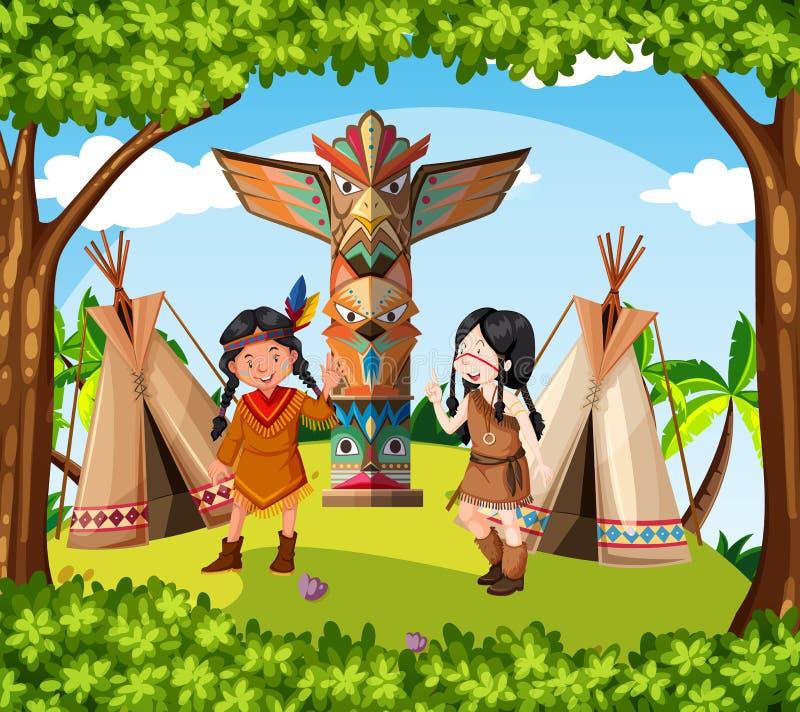 Inheemse Amerikaanse Indiërs bij de stam stock illustratie