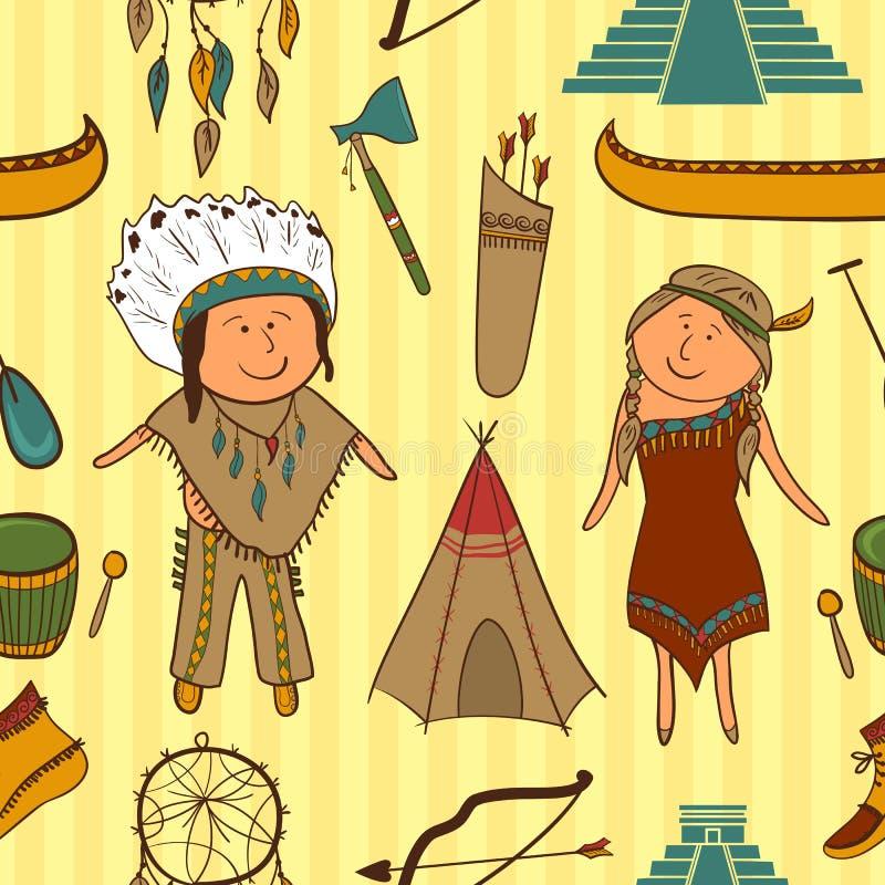 Inheemse Amerikaanse, Indische naadloze cultuurvector royalty-vrije illustratie
