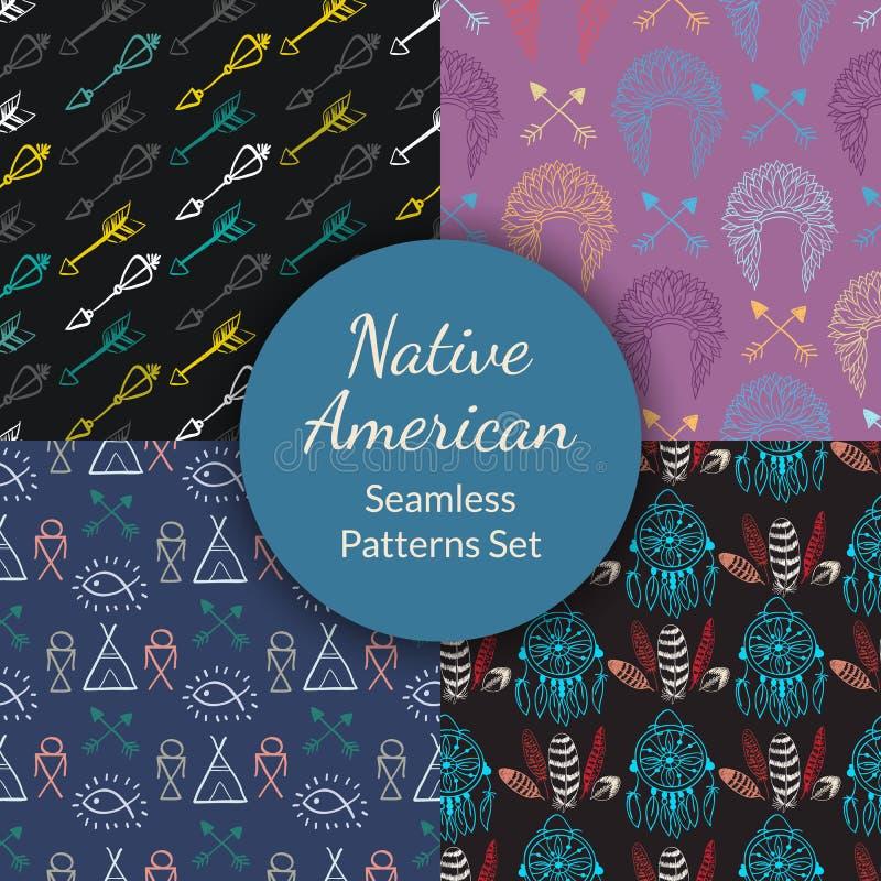 Inheemse Amerikaanse Naadloze Geplaatste Patronen royalty-vrije illustratie