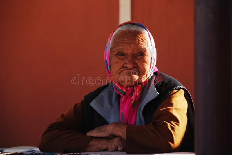 Inheemse Amerikaanse oude vrouw stock foto