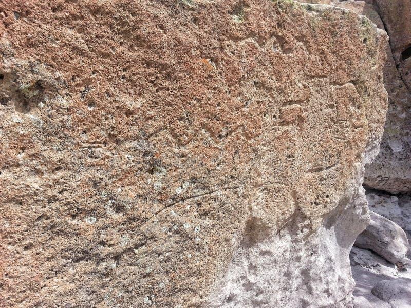 Inheemse Amerikaanse rotstekening Tsankawe New Mexico royalty-vrije stock foto