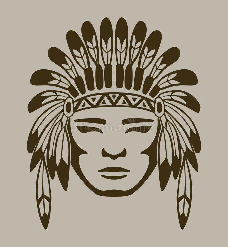 Inheemse Amerikaanse strijder, hand getrokken vector stock illustratie