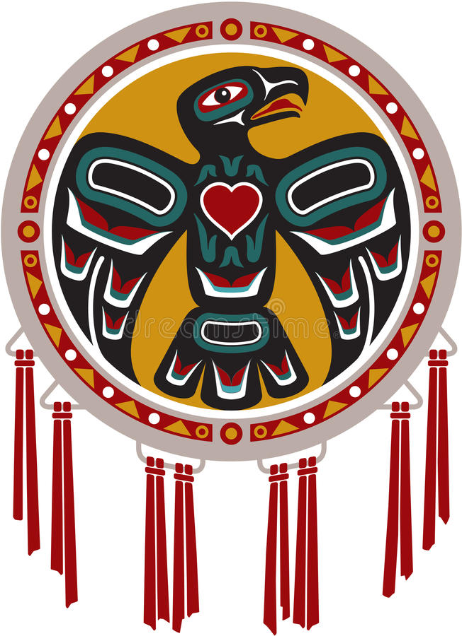 Inheemse Amerikaanse Trommel met Adelaar royalty-vrije illustratie