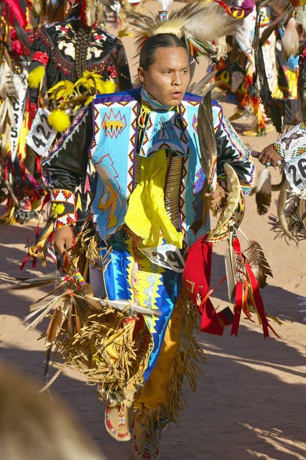 Inheemse Amerikanen in volledige regalia die in Pow wauw dansen stock afbeelding