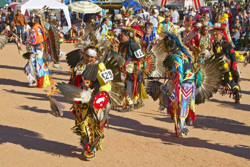 Inheemse Amerikanen in volledige regalia die in Pow wauw dansen royalty-vrije stock fotografie