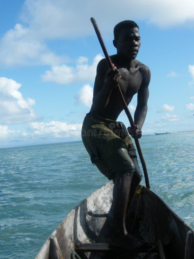 Inheemse boatman van Madagascar royalty-vrije stock afbeeldingen