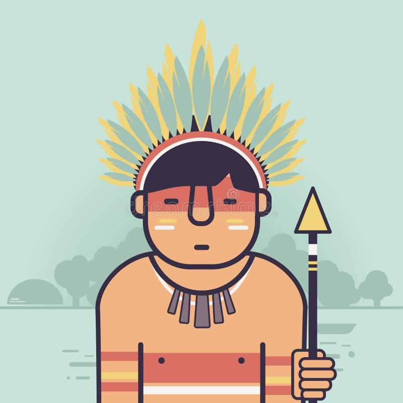 Inheemse Braziliaan royalty-vrije illustratie