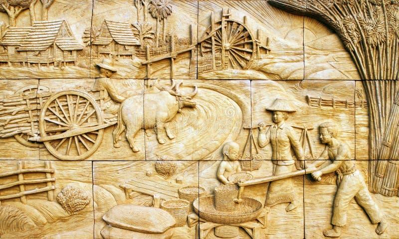 Inheemse cultuur Thaise gipspleister op steenmuur stock fotografie