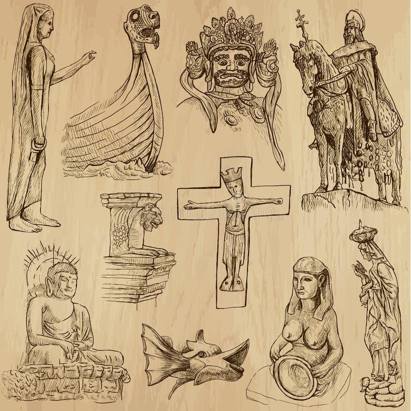 Inheemse en Oude Kunst - de vector plaatste nr 12 stock illustratie