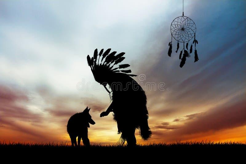 Inheemse Indiaan bij zonsondergang