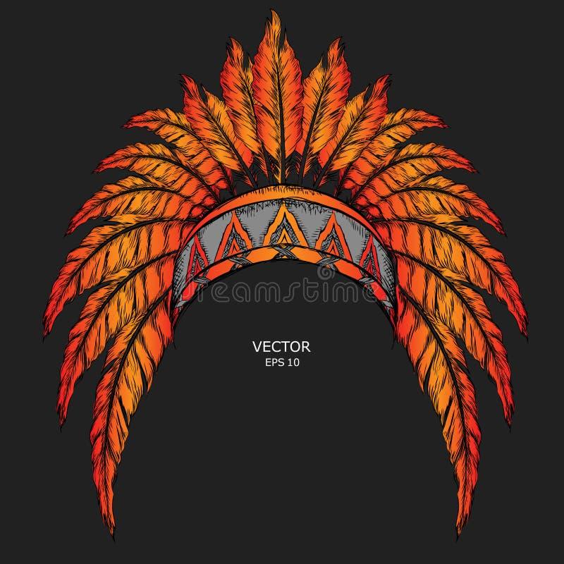 Inheemse Indiaan gekleurde leider Rode en zwarte voorn Indisch veerhoofddeksel van adelaar vector illustratie