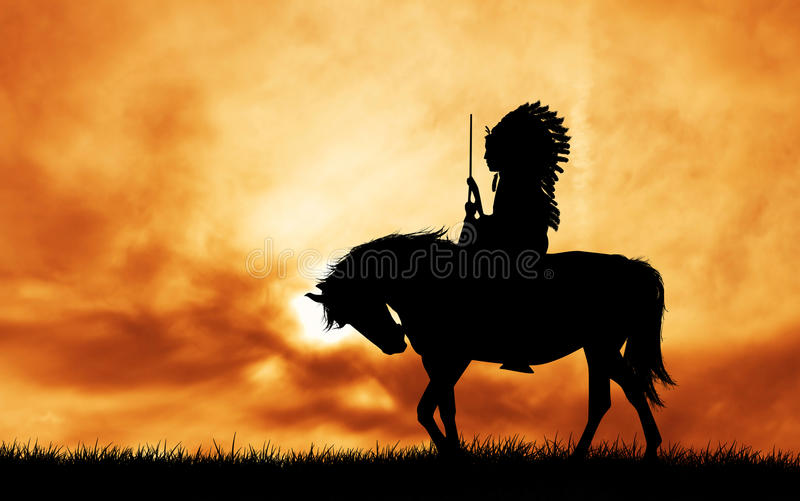 Inheemse Indiaan op paard stock illustratie