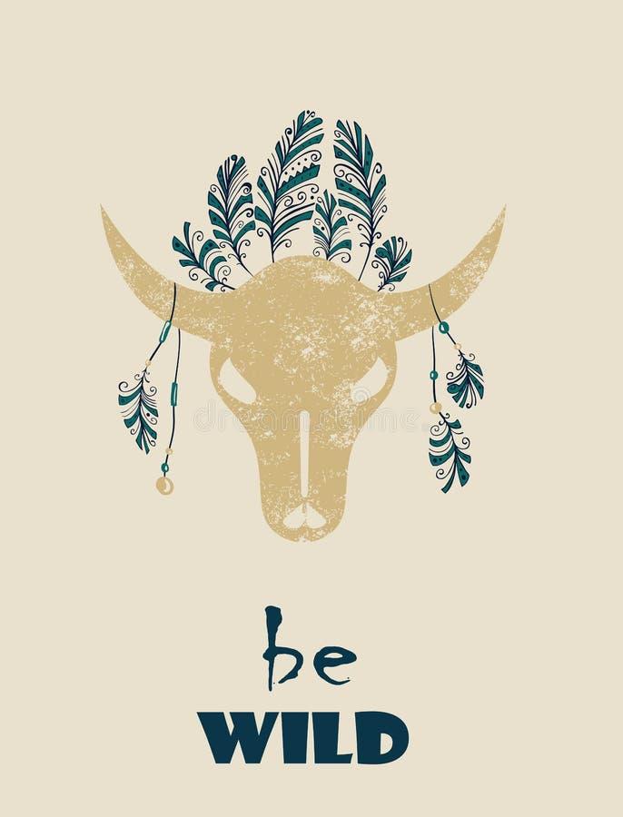 Inheemse Indisch-Amerikaanse stammen decoratieve stier vector illustratie