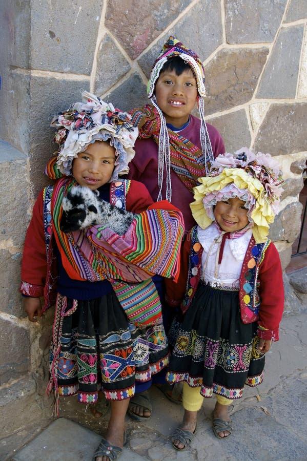 Inheemse kinderen van Peru royalty-vrije stock afbeelding