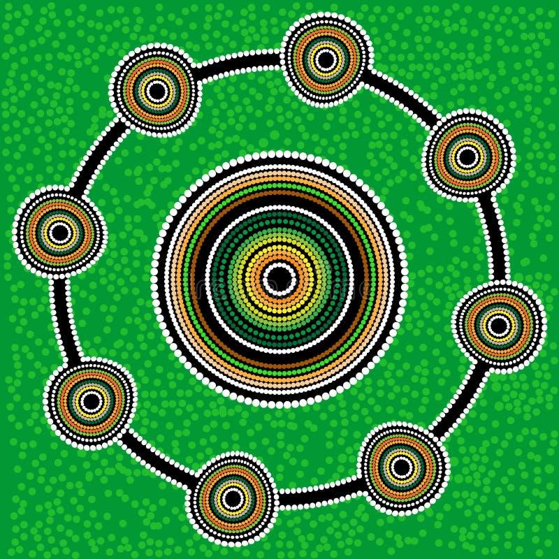 Inheemse kunst vectorachtergrond Groen royalty-vrije illustratie
