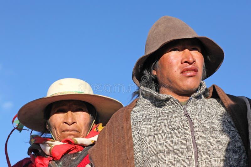 Inheemse mensen, de bergen van de Andes stock foto's
