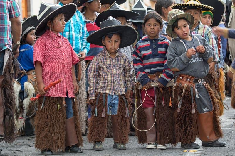 Inheemse quechua kinderen royalty-vrije stock foto's