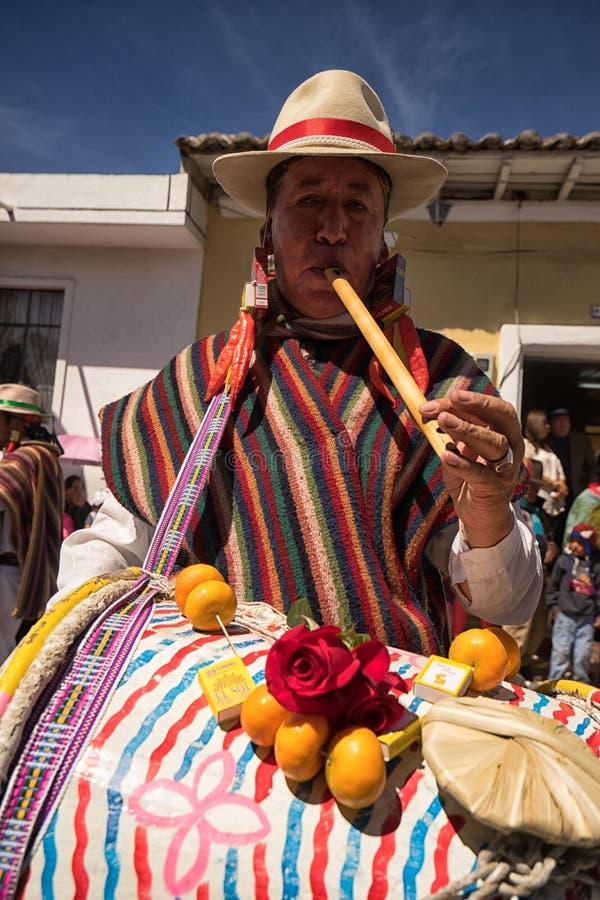 Inheemse quechua mannelijke slagwerker bij Corpus Christiparade royalty-vrije stock foto