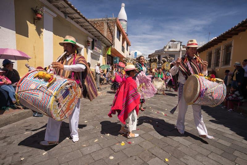 Inheemse quechua mannelijke slagwerkers royalty-vrije stock afbeelding