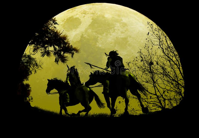 Inheemse Ruiters onder Moonrise stock illustratie