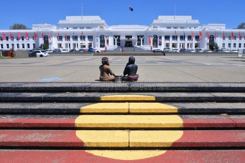 Inheemse Tentambassade op van de Streekaustralië van Canberra het Parlementaire Hoofdgrondgebied stock afbeelding
