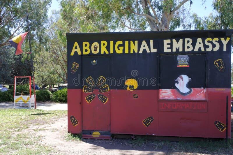 Inheemse Tentambassade op van de Streekaustralië van Canberra het Parlementaire Hoofdgrondgebied stock afbeeldingen