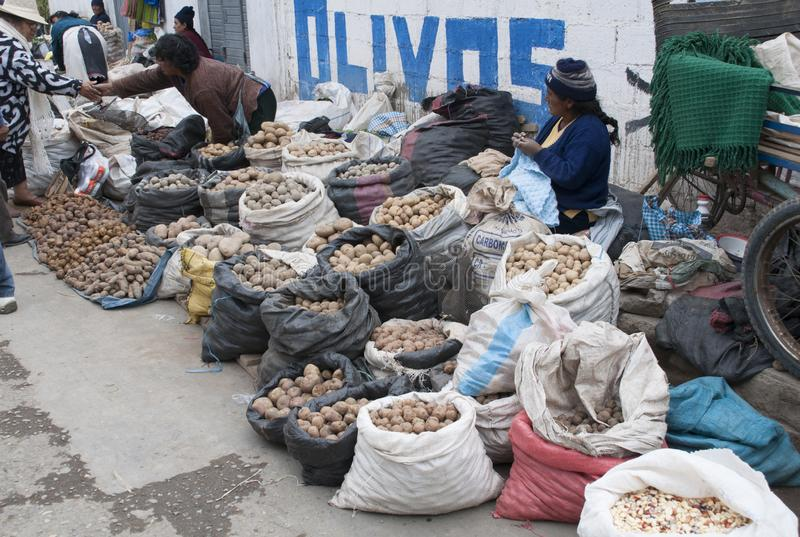 Inheemse vrouwen die aardappels voor straat verkopen die in Huancayo winkelen stock foto