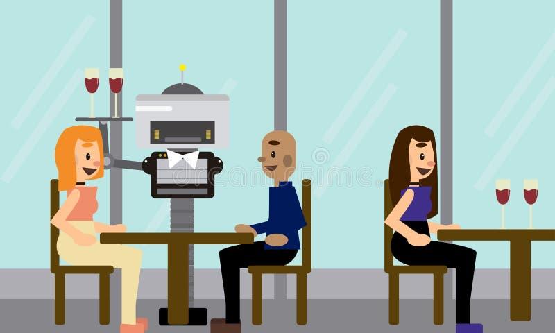 Inhemsk robotuppassare som bär ett magasin med exponeringsglas som tjänar som kunder på restaurangen stock illustrationer