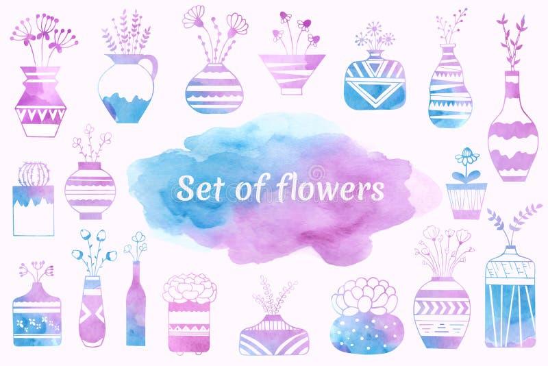 Inhemska blommor i vaser och blomkrukor som målas i vattenfärg stock illustrationer