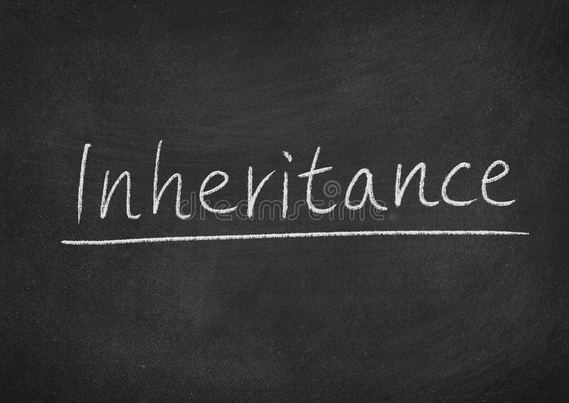 Inheritance. Concept word on a blackboard background stock photography