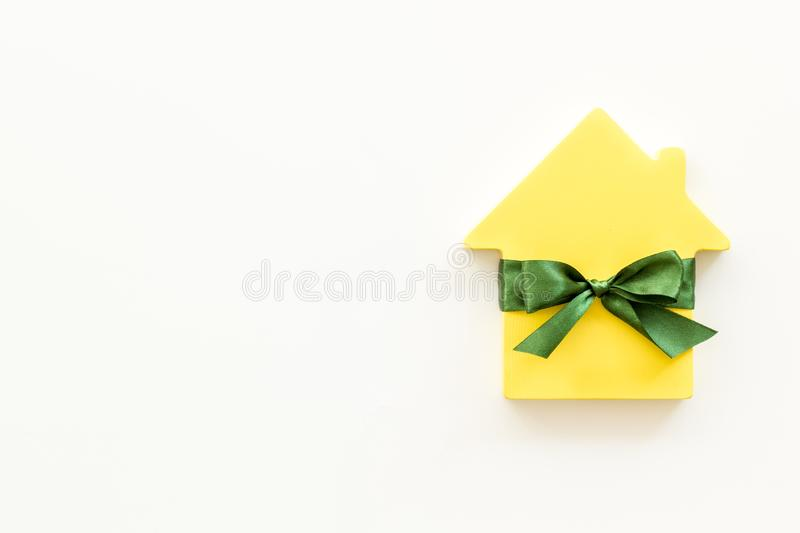 Inheritance house with figure on white background top view mockup.  stock image