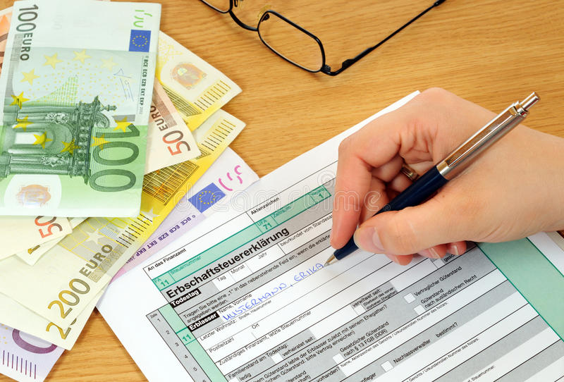 Inheritance tax. Form is waiting to be filled in stock images