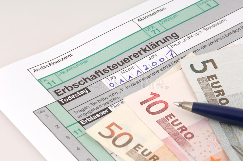 Inheritance tax. Tax form for the German inheritance tax ready to complete stock photography