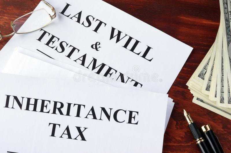 Inheritance tax form. Inheritance tax form on a table and cash royalty free stock photos