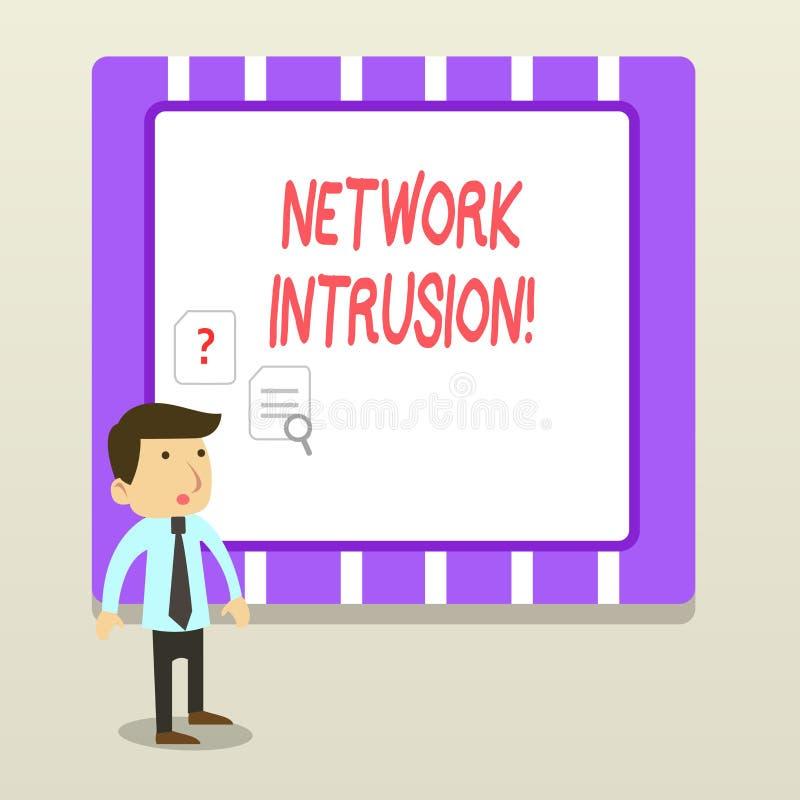 Inhopp för handskrifttextnätverk Begreppsbetydelseapparat eller programvaruapplikation som övervakar ett nätverk royaltyfri illustrationer