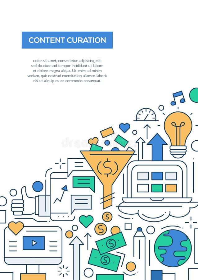 Inhoud Curation - het malplaatje van de de brochureaffiche van het lijnontwerp A4 vector illustratie