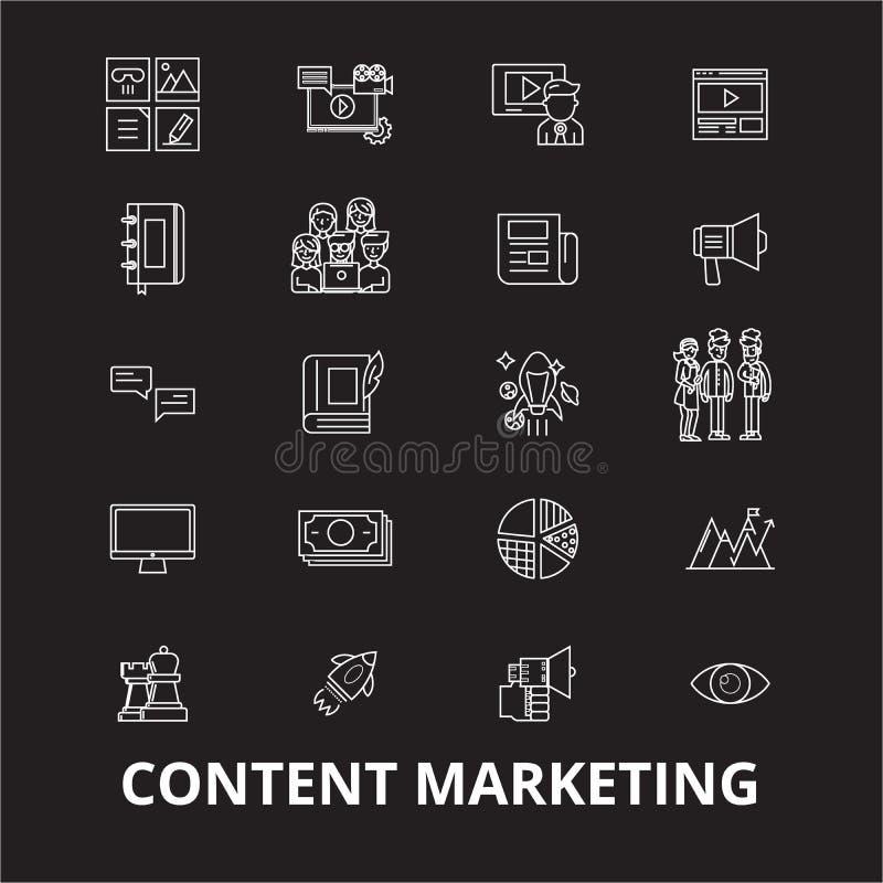 Inhoud die de editable die vector op de markt brengen van lijnpictogrammen op zwarte achtergrond wordt geplaatst Inhoud die witte royalty-vrije illustratie