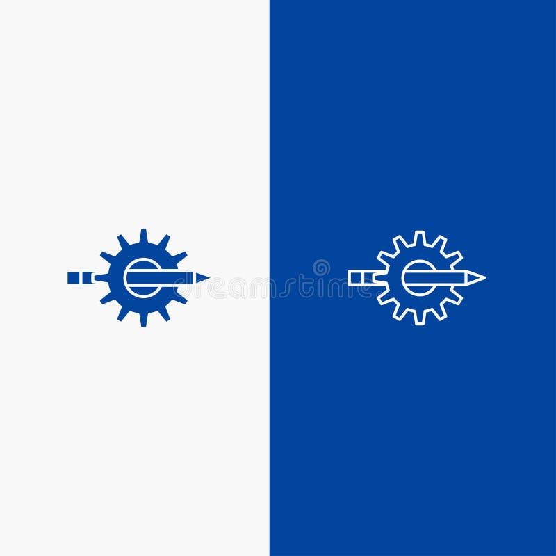 Inhoud, het Schrijven, Ontwerp, Ontwikkeling, Toestel, Productielijn en Lijn van de het pictogram Blauwe banner van Glyph de Stev stock illustratie