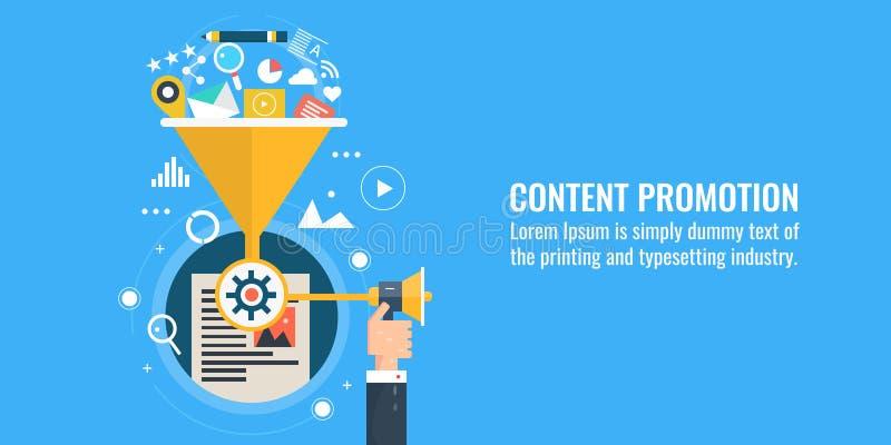 Inhoud marketing, bevordering, het delen, strategie, digitale marketing, Web reclameconcept Vlakke ontwerp vectorbanner vector illustratie