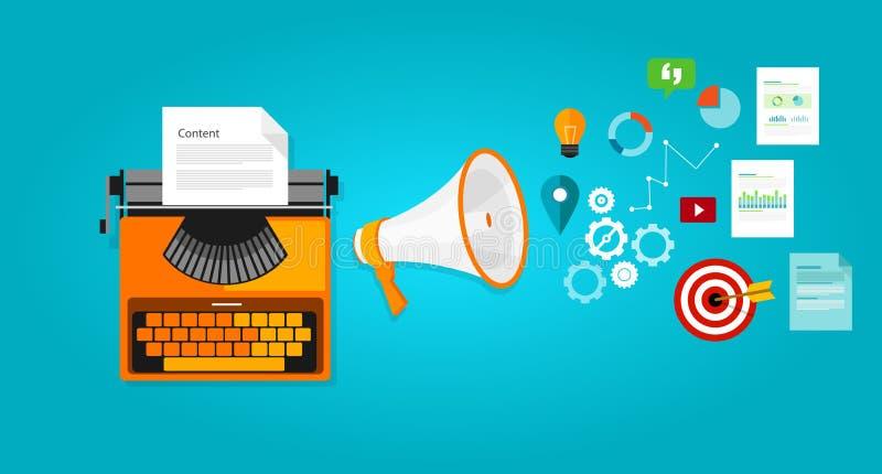 Inhoud marketing de online blog van de seooptimalisering royalty-vrije illustratie