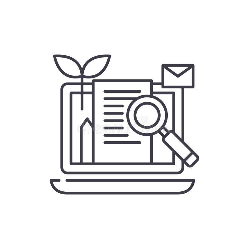 Inhoud marketing het concept van het lijnpictogram Inhoud die vector lineaire illustratie, symbool, teken op de markt brengen stock illustratie