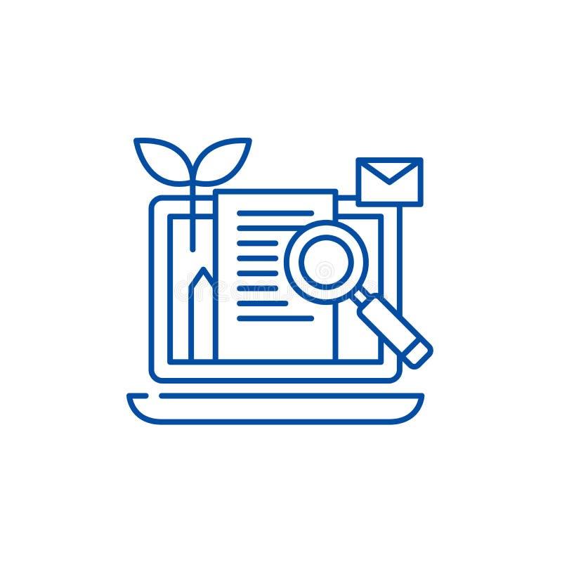 Inhoud marketing het concept van het lijnpictogram Inhoud die vlak vectorsymbool, teken, overzichtsillustratie op de markt brenge stock illustratie