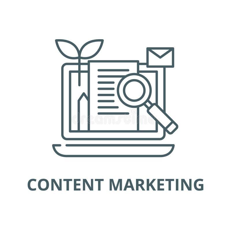 Inhoud marketing lijnpictogram, vector Inhoud marketing overzichtsteken, conceptensymbool, vlakke illustratie stock illustratie