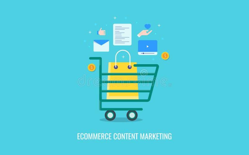 Inhoudsverwezenlijking, publicatie, die voor elektronische handelwebsite op de markt brengen Vlakke ontwerp vectorbanner royalty-vrije illustratie