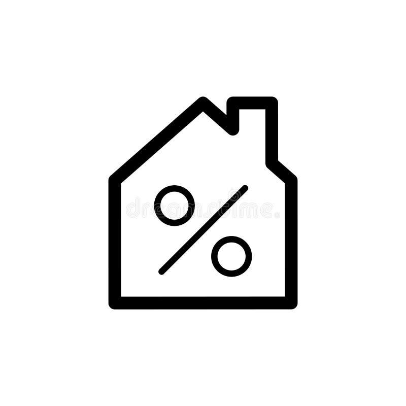 Inhysa den enkla vektorsymbolen för kreditering Svartvit illustration av huset och procentsymbolet Linjär symbol för översikt stock illustrationer